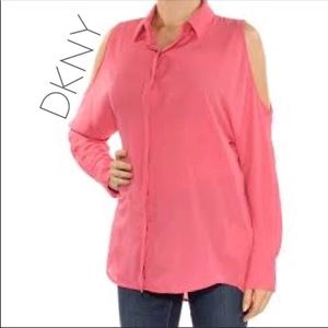 NWT DKNY dusty rose pink cold shoulder blouse XL